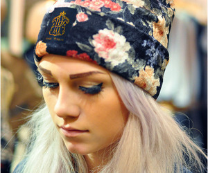 girl, floral, and beanie image