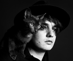 pete doherty, cat, and black and white image