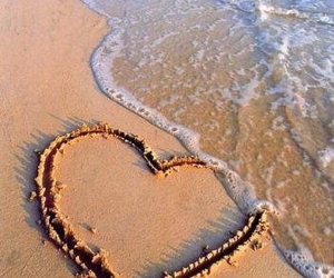 beach, heart, and nature image