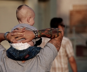 baby, tattoo, and father image