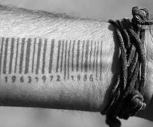 tattoo, black and white, and bracelet image