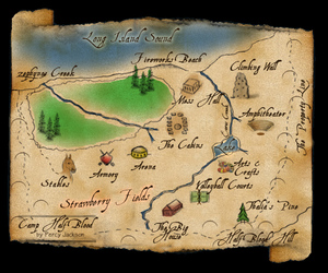 percy jackson, camp half-blood, and map image