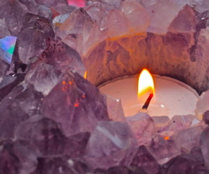 candle, amethyst, and light image