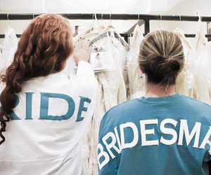 bride, bridesmaid, and wedding image