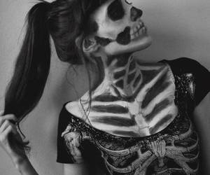 girl, makeup, and skulls image