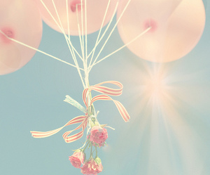 balloons, flowers, and love image