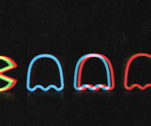 pacman, game, and neon image