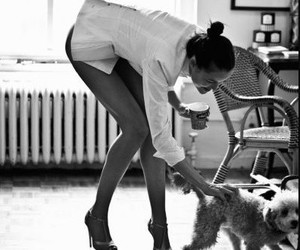 dog, girl, and heels image