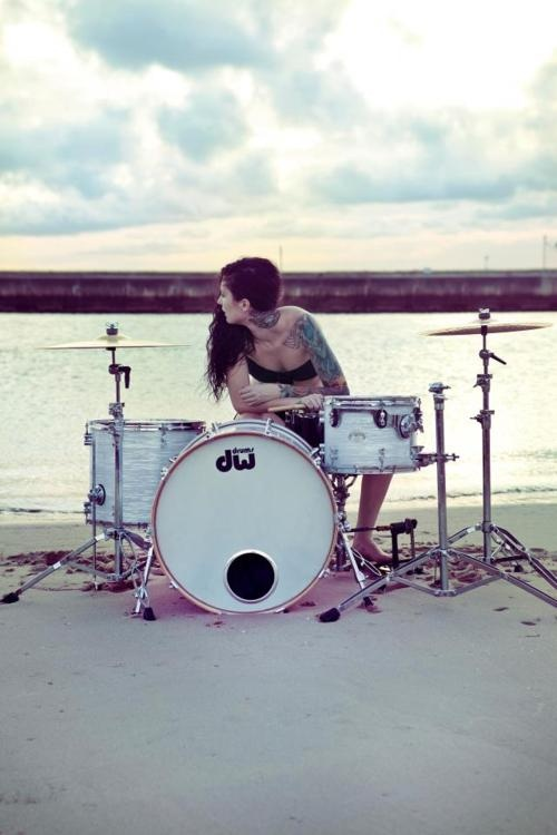 drum, girl, and tattos image