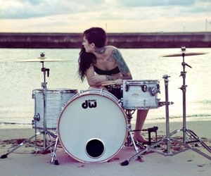 drummer, drums, and girl image