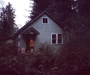 house, girl, and forest image