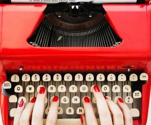 red, typewriter, and nails image