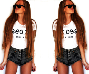 outfit, hair, and shorts image
