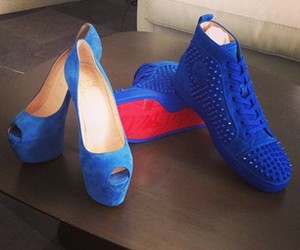 blue shoes, red sole, and beautiful image