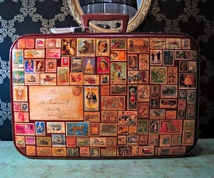 stamp, suit case, and travel image