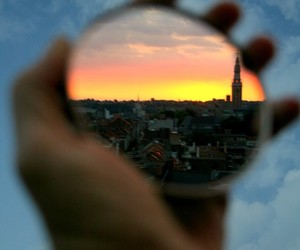 city, mirror, and sunset image