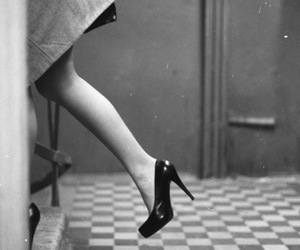heels, vintage, and black and white image