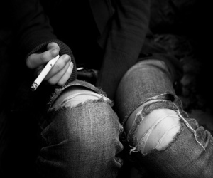 cigarette, smoke, and black and white image