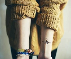 tattoo, compass, and sweater image