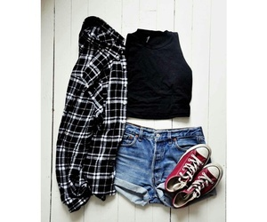 outfit, converse, and shorts image