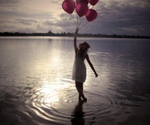 girl, balloons, and water image