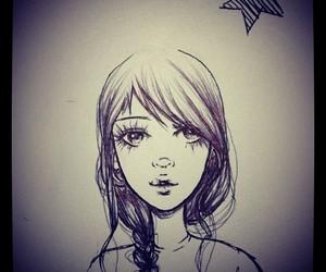 art, drawing, and braid image
