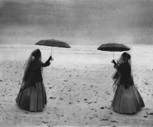 black and white, umbrella, and horror image