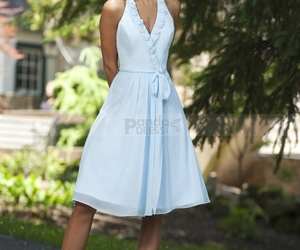 junior bridesmaid dress, halter-neck, and bow tie and ruffles image