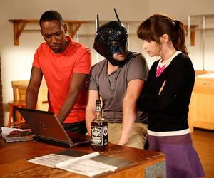 batman, jake johnson, and zooey deschanel image