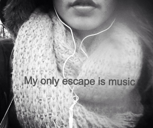escape, music, and black and white image
