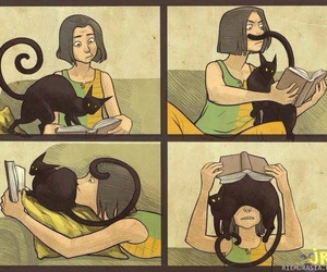 cat, book, and funny image