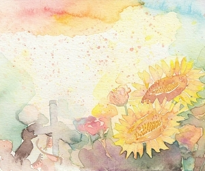 colorful, water color, and flower image