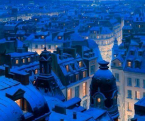 night, paris, and winter image