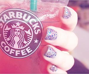 starbucks, nails, and pink image