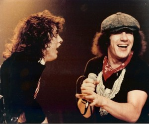 ac dc, brian johnson, and angus young image