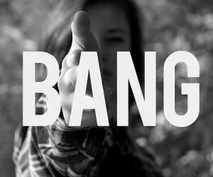 bang, girl, and black and white image