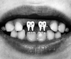 teeth, black and white, and smile image