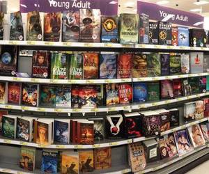 books, divergent, and library image