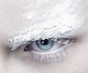 white, blue, and eye image