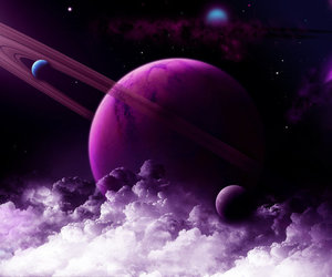 space, planet, and purple image
