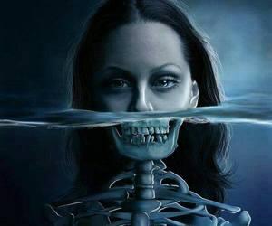 creepy, skeleton, and water image