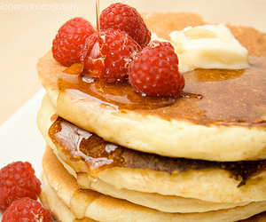 pancakes, food, and raspberry image