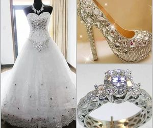 dress, ring, and wedding image