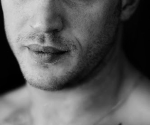 tom hardy, black and white, and Hot image