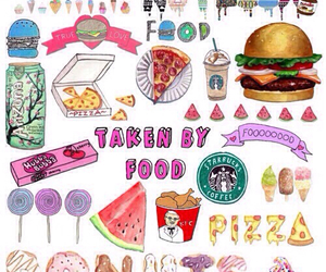 food, pizza, and starbucks image