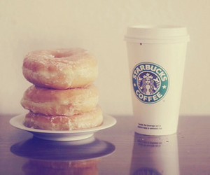 starbucks, donuts, and coffee image