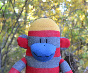 blue sock monkey, sock monkey doll, and sock monkey toy image
