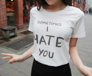 hate, t-shirt, and black and white image