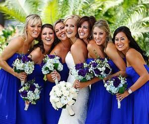 blue, dress, and long image