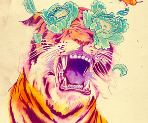 tiger, flower, and buterfly image